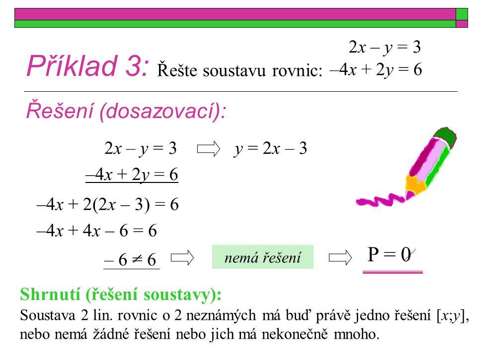 Příklad 3: Řešte soustavu rovnic: Řešení (dosazovací): –4x + 2y = 6 2x – y = 3 – 6 = 6 y = 2x – 3 –4x + 2y = 6 –4x + 2(2x – 3) = 6 nemá řešení –4x + 4