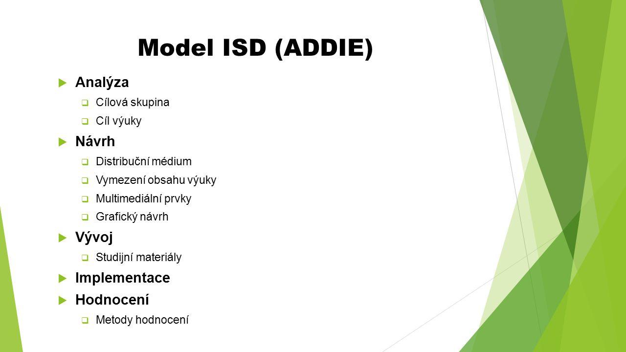Model ISD (ADDIE)  Analýza  Cílová skupina  Cíl výuky  Návrh  Distribuční médium  Vymezení obsahu výuky  Multimediální prvky  Grafický návrh 