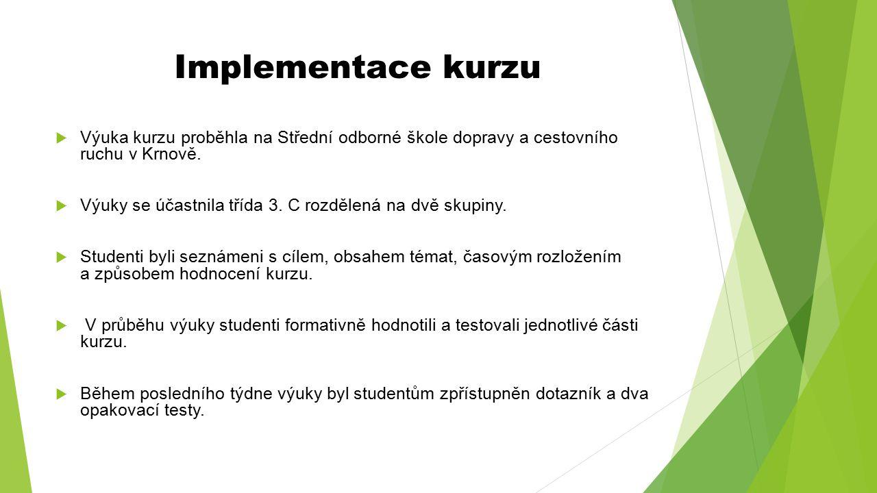 Implementace kurzu  Výuka kurzu proběhla na Střední odborné škole dopravy a cestovního ruchu v Krnově.  Výuky se účastnila třída 3. C rozdělená na d