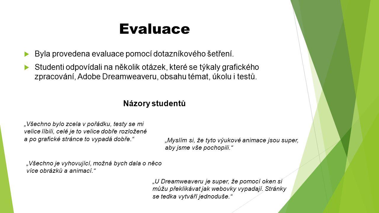 Evaluace  Byla provedena evaluace pomocí dotazníkového šetření.  Studenti odpovídali na několik otázek, které se týkaly grafického zpracování, Adobe
