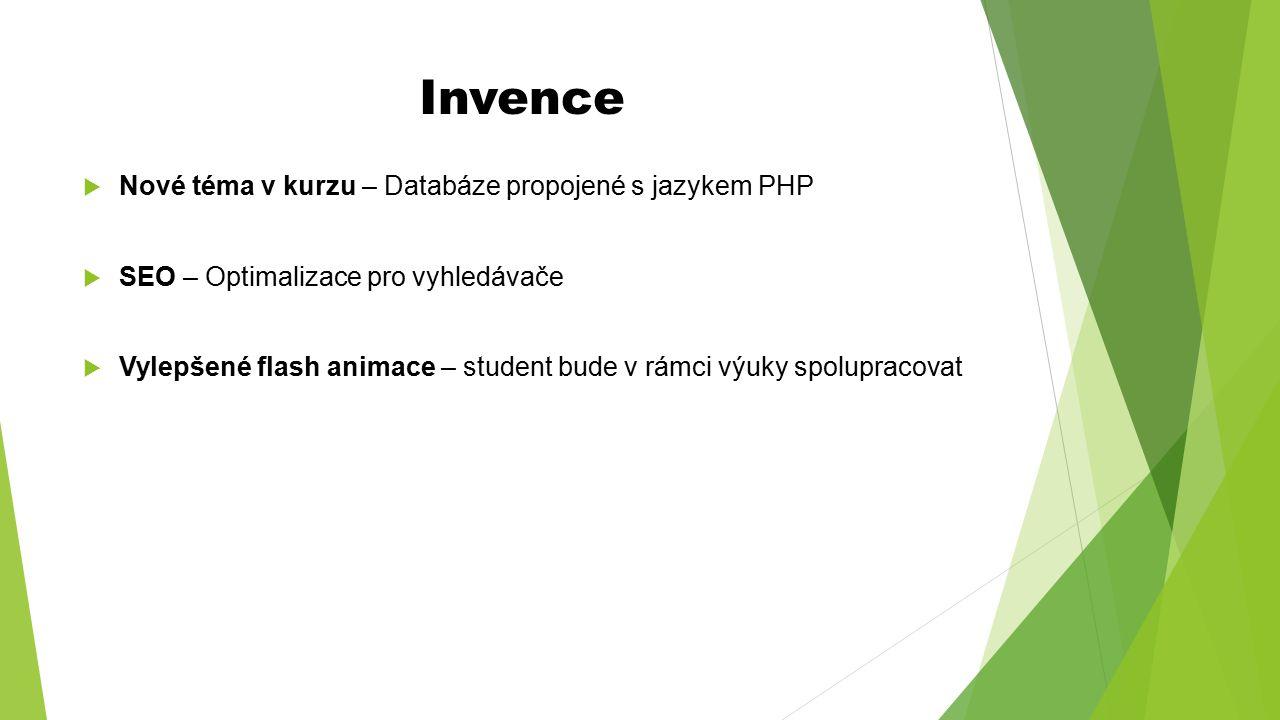 Invence  Nové téma v kurzu – Databáze propojené s jazykem PHP  SEO – Optimalizace pro vyhledávače  Vylepšené flash animace – student bude v rámci v
