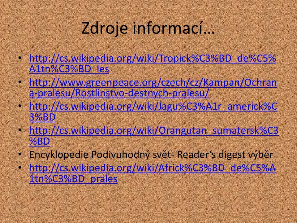 Zdroje informací… http://cs.wikipedia.org/wiki/Tropick%C3%BD_de%C5% A1tn%C3%BD_les http://cs.wikipedia.org/wiki/Tropick%C3%BD_de%C5% A1tn%C3%BD_les http://www.greenpeace.org/czech/cz/Kampan/Ochran a-pralesu/Rostlinstvo-destnych-pralesu/ http://www.greenpeace.org/czech/cz/Kampan/Ochran a-pralesu/Rostlinstvo-destnych-pralesu/ http://cs.wikipedia.org/wiki/Jagu%C3%A1r_americk%C 3%BD http://cs.wikipedia.org/wiki/Jagu%C3%A1r_americk%C 3%BD http://cs.wikipedia.org/wiki/Orangutan_sumatersk%C3 %BD http://cs.wikipedia.org/wiki/Orangutan_sumatersk%C3 %BD Encyklopedie Podivuhodný svět- Reader's digest výběr http://cs.wikipedia.org/wiki/Africk%C3%BD_de%C5%A 1tn%C3%BD_prales http://cs.wikipedia.org/wiki/Africk%C3%BD_de%C5%A 1tn%C3%BD_prales