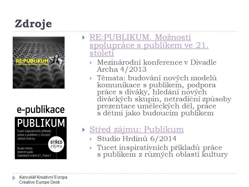 Kancelář Kreativní Evropa Creative Europe Desk Zdroje  RE:PUBLIKUM.