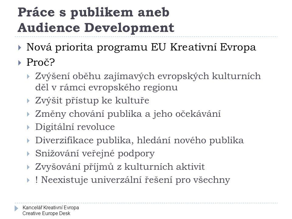 Kancelář Kreativní Evropa Creative Europe Desk Práce s publikem aneb Audience Development  Nová priorita programu EU Kreativní Evropa  Proč.