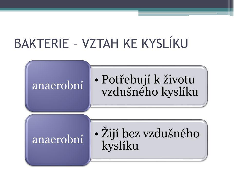 BAKTERIE – VZTAH KE KYSLÍKU Potřebují k životu vzdušného kyslíku anaerobní Žijí bez vzdušného kyslíku anaerobní