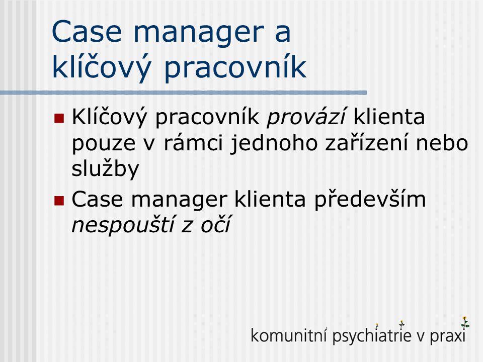 Základní modely case managementu Brokerský model Intenzivní case management Asertivní komunitní léčba (ACT)