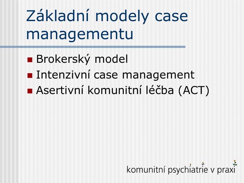 Brokerský model Pouze koordinace služeb Poměr pracovník : klient 1:40 i více Závislost na dostupných službách Práce v kanceláři V péči o duševně nemocné se dnes nepoužívá