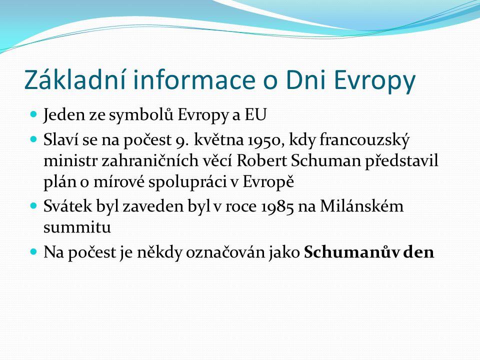 Základní informace o Dni Evropy Jeden ze symbolů Evropy a EU Slaví se na počest 9.