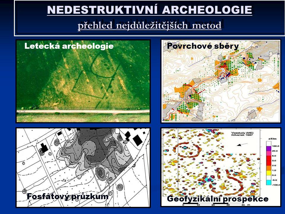 NEDESTRUKTIVNÍ ARCHEOLOGIE přehled nejdůležitějších metod Letecká archeologiePovrchové sběry Fosfátový průzkum Geofyzikální prospekce
