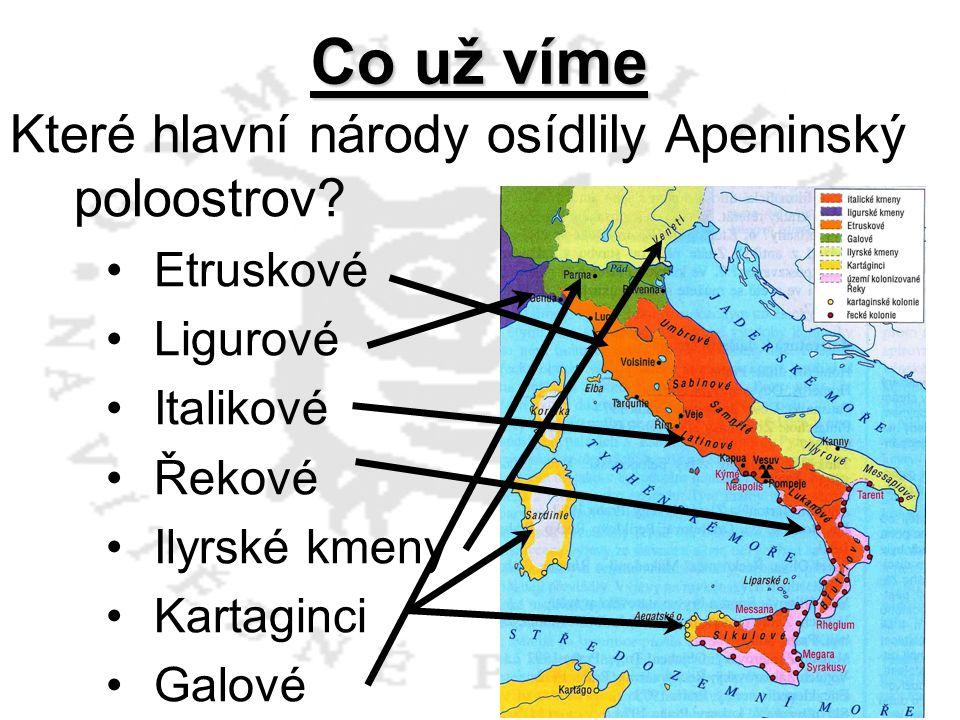 Které hlavní národy osídlily Apeninský poloostrov? Etruskové Ligurové Italikové Řekové Ilyrské kmeny Kartaginci Galové Co už víme