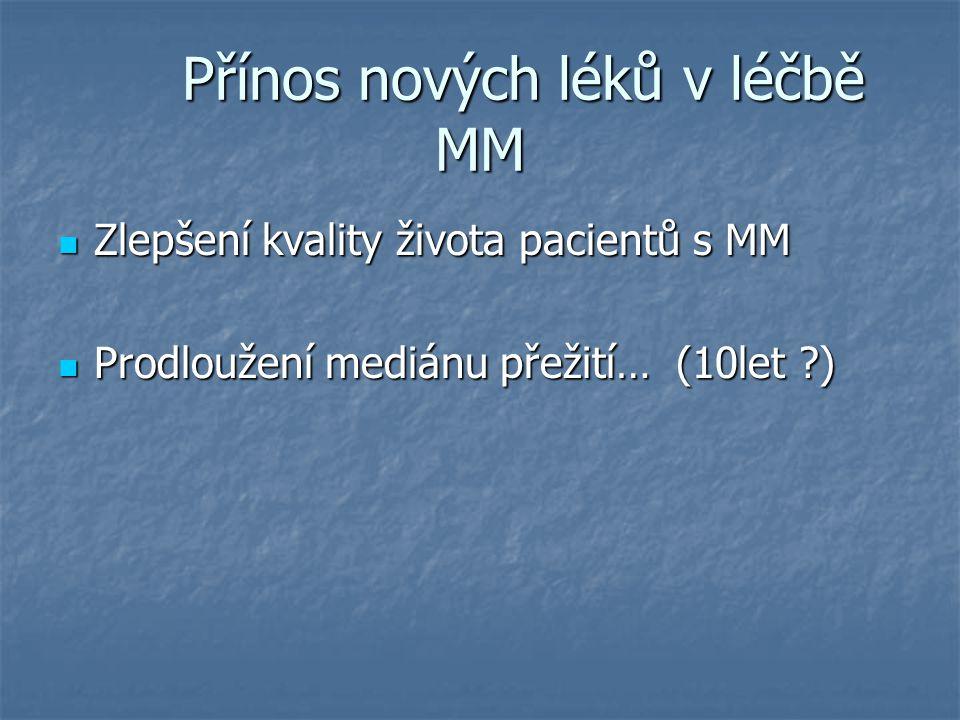 Přínos nových léků v léčbě MM Přínos nových léků v léčbě MM Zlepšení kvality života pacientů s MM Zlepšení kvality života pacientů s MM Prodloužení me
