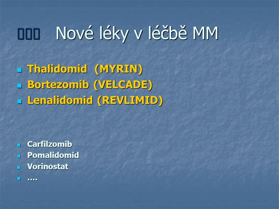  Nové léky v léčbě MM Thalidomid (MYRIN) Thalidomid (MYRIN) Bortezomib (VELCADE) Bortezomib (VELCADE) Lenalidomid (REVLIMID) Lenalidomid (REVLIMID