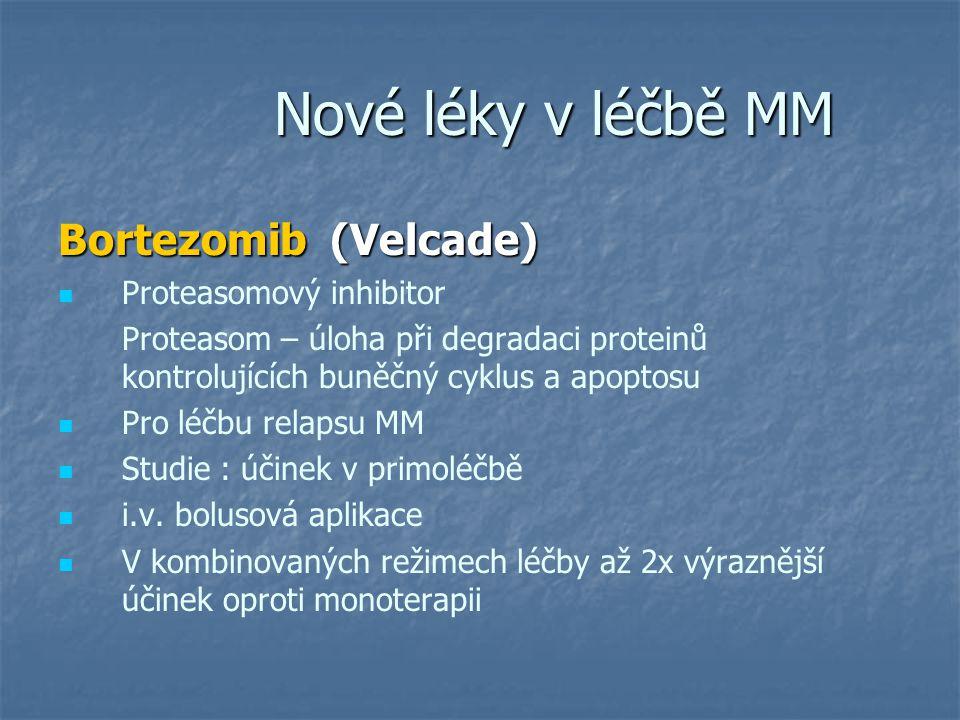 Nové léky v léčbě MM Nové léky v léčbě MM Bortezomib (Velcade) Proteasomový inhibitor Proteasom – úloha při degradaci proteinů kontrolujících buněčný