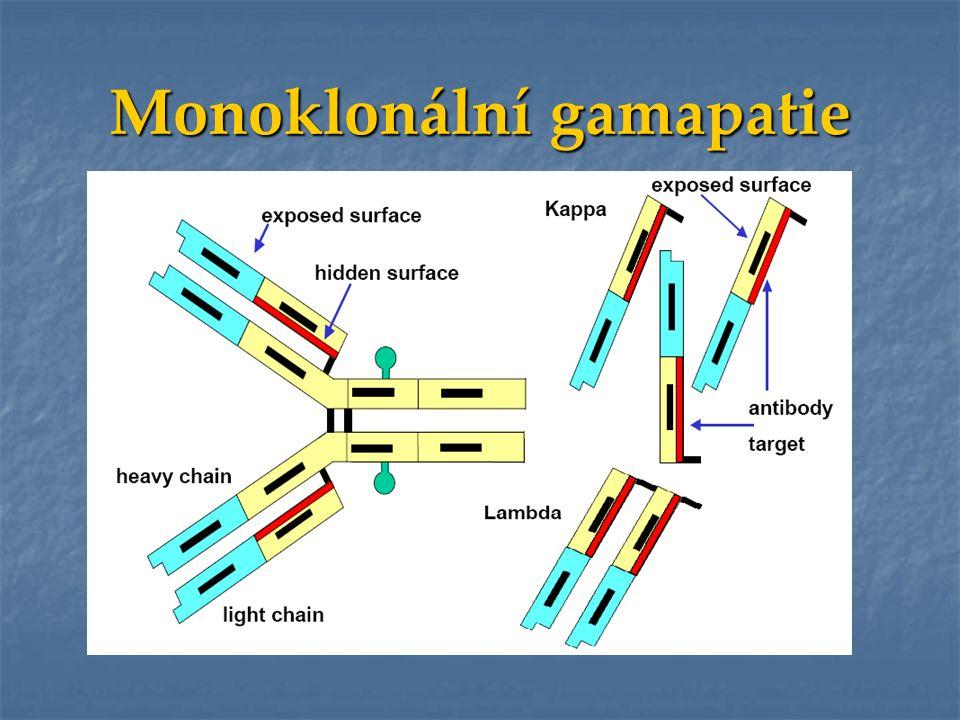 Monoklonal Ig jedné třídy a jednoho typu LC (IgG kappa) Monoklonal Ig jedné třídy a jednoho typu LC (IgG kappa) Volné LC jednoho typu (LC kappa) Volné LC jednoho typu (LC kappa) (v moči = Bence Jonesův protein) Volné těžké řetězce nebo Fc fragmenty Volné těžké řetězce nebo Fc fragmenty