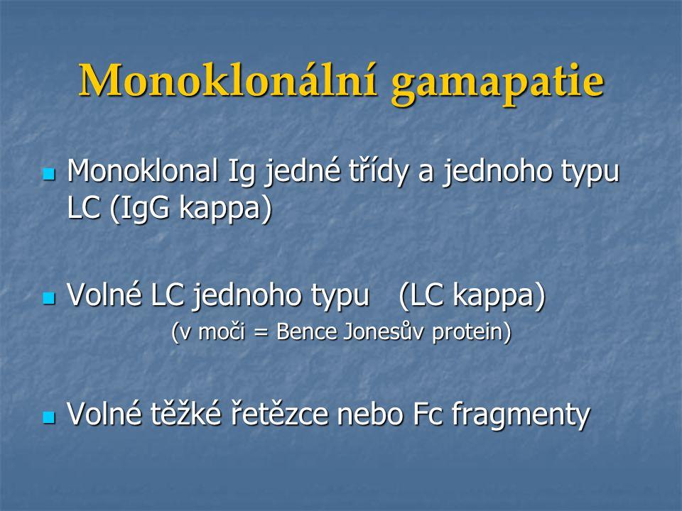 Monoklonální gamapatie Monoklonální komponenta Monoklonální komponenta = monoklonální imunoglobulin = monoklonální imunoglobulin = M protein = M protein = M gradient = M gradient = paraprotein = paraprotein
