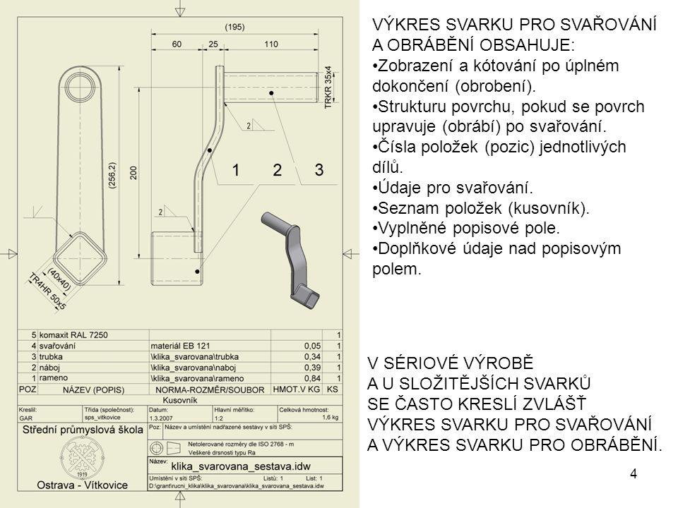 VÝKRES SVARKU PRO SVAŘOVÁNÍ A OBRÁBĚNÍ OBSAHUJE: Zobrazení a kótování po úplném dokončení (obrobení). Strukturu povrchu, pokud se povrch upravuje (obr