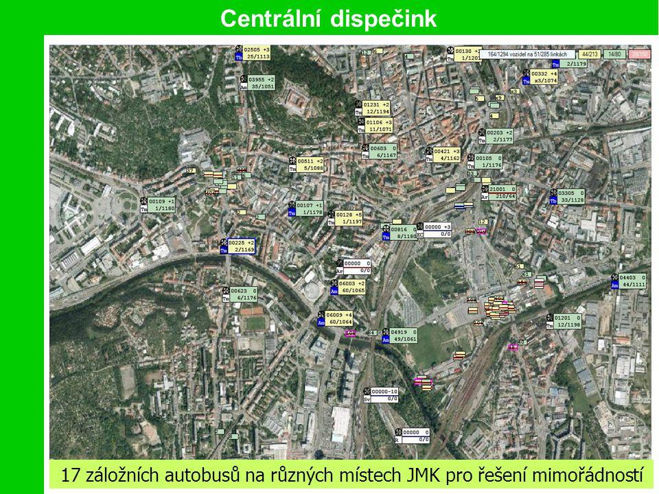 Centrální dispečink 17 záložních autobusů na různých místech JMK pro řešení mimořádností