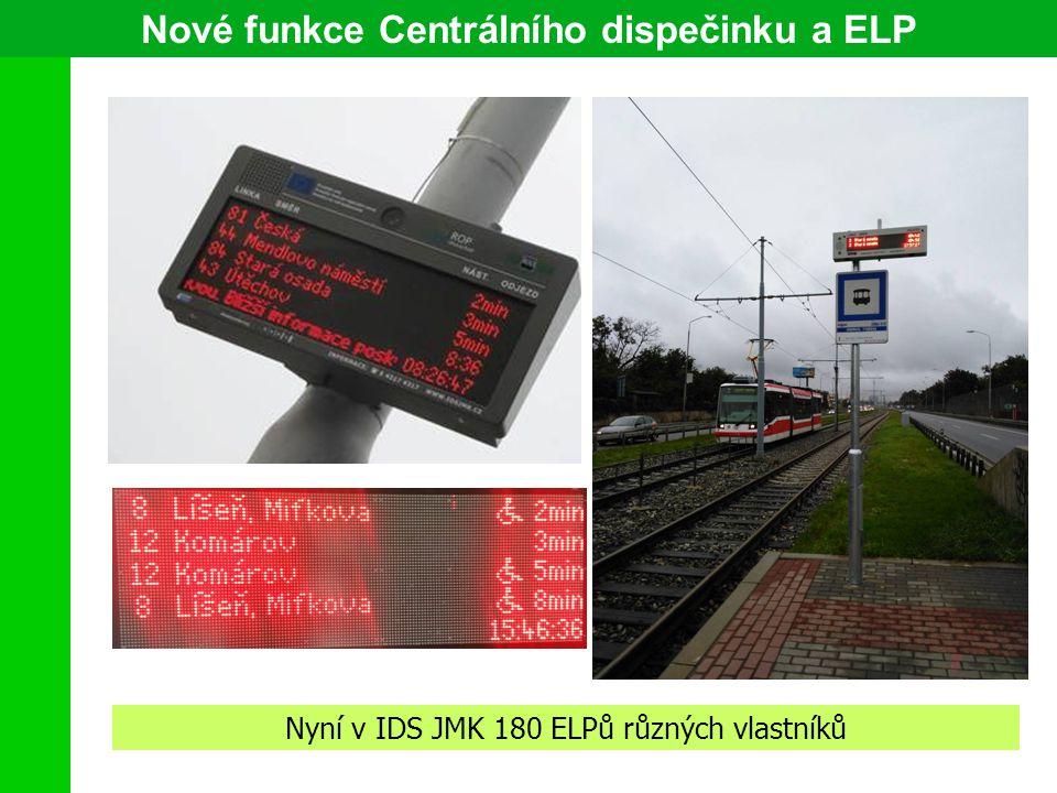 Nové funkce Centrálního dispečinku a ELP Nyní v IDS JMK 180 ELPů různých vlastníků