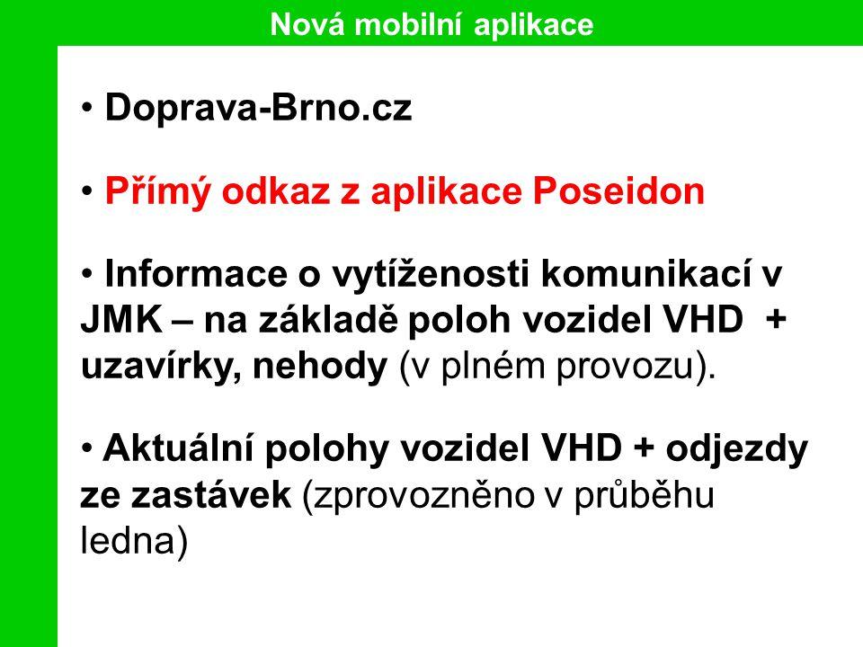 Nová mobilní aplikace Doprava-Brno.cz Přímý odkaz z aplikace Poseidon Informace o vytíženosti komunikací v JMK – na základě poloh vozidel VHD + uzavírky, nehody (v plném provozu).