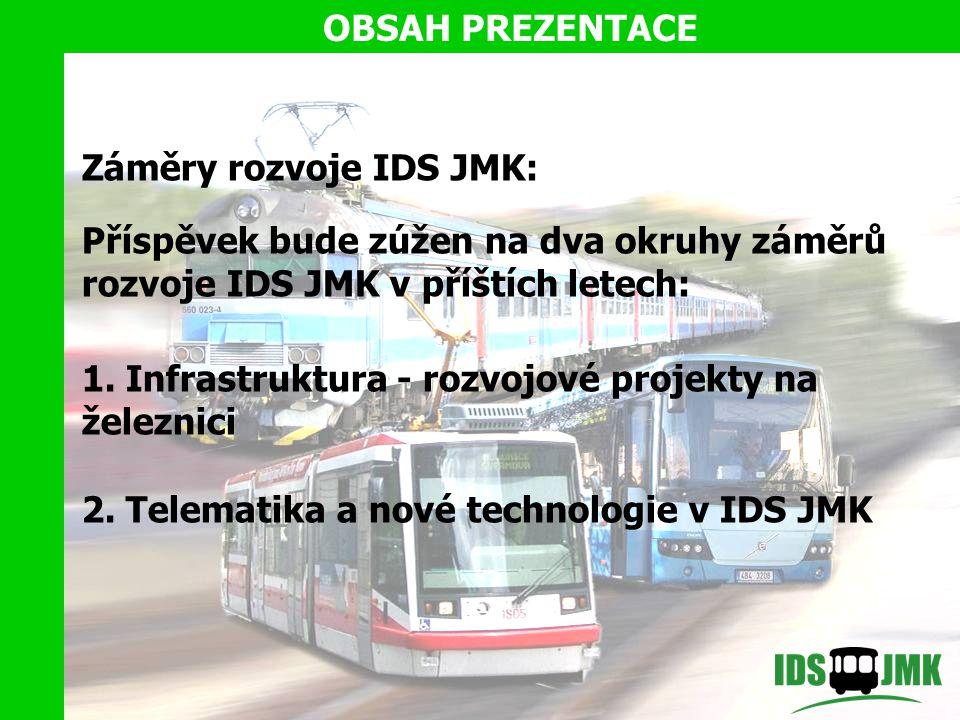 Záměry rozvoje IDS JMK: Příspěvek bude zúžen na dva okruhy záměrů rozvoje IDS JMK v příštích letech: 1.