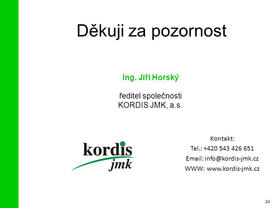 Děkuji za pozornost 24 Ing.Jiří Horský ředitel společnosti KORDIS JMK, a.s.