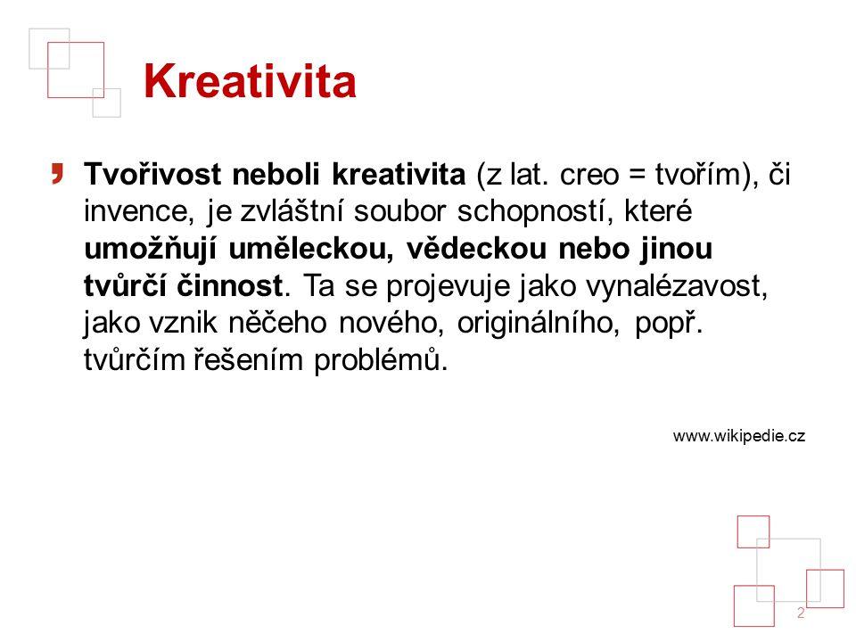 Kreativita Tvořivost neboli kreativita (z lat.