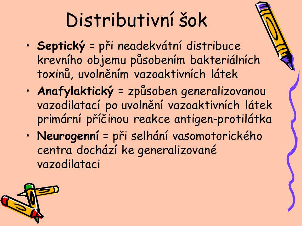 Distributivní šok Septický = při neadekvátní distribuce krevního objemu působením bakteriálních toxinů, uvolněním vazoaktivních látek Anafylaktický =