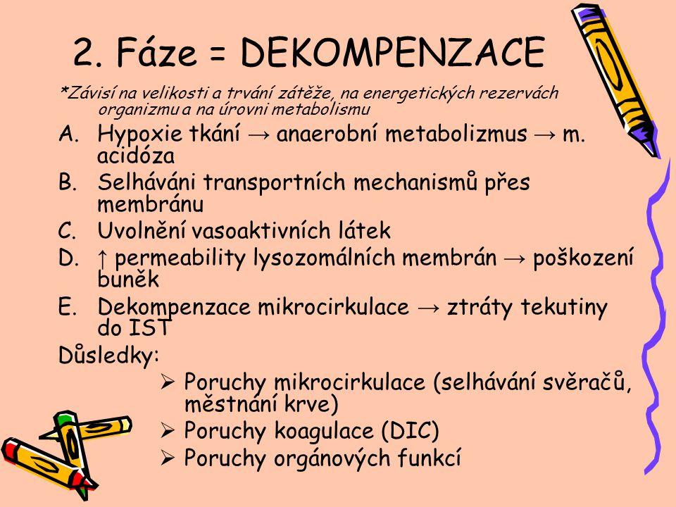 2. Fáze = DEKOMPENZACE *Závisí na velikosti a trvání zátěže, na energetických rezervách organizmu a na úrovni metabolismu A.Hypoxie tkání → anaerobní