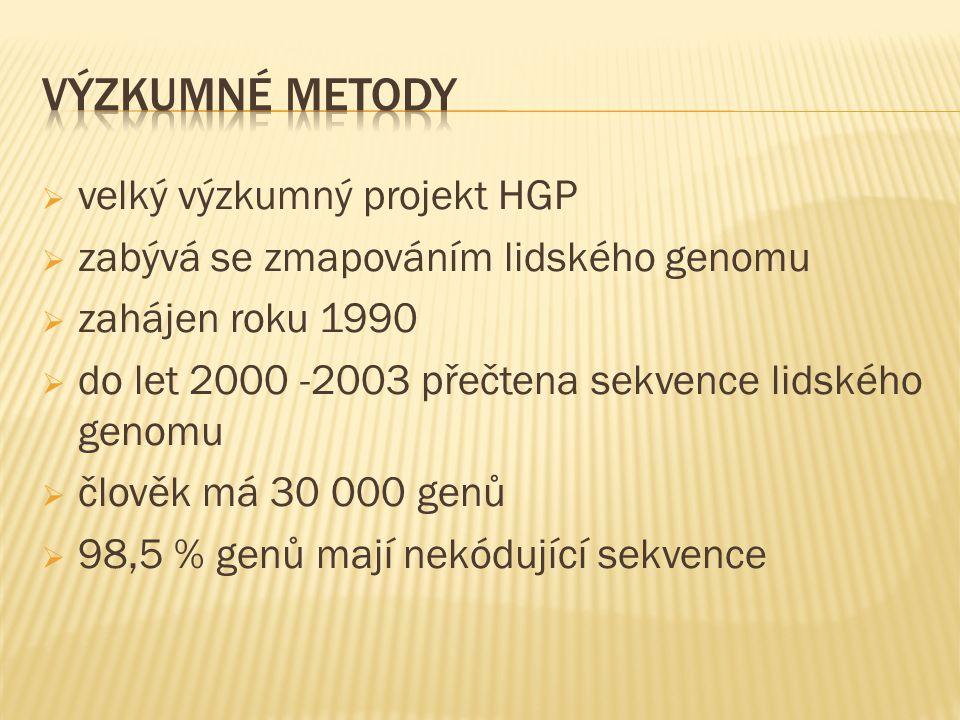  velký výzkumný projekt HGP  zabývá se zmapováním lidského genomu  zahájen roku 1990  do let 2000 -2003 přečtena sekvence lidského genomu  člověk má 30 000 genů  98,5 % genů mají nekódující sekvence