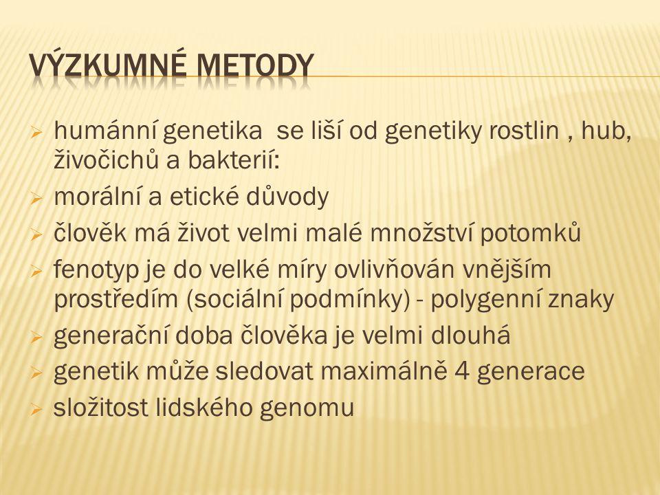  specifické pozorovací metody: 1.studium rodokmenů – genealogická metoda 2.