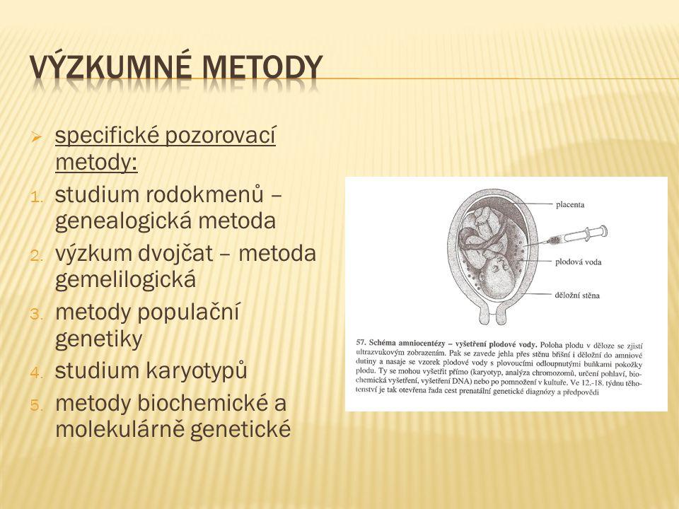  specifické pozorovací metody: 1. studium rodokmenů – genealogická metoda 2.