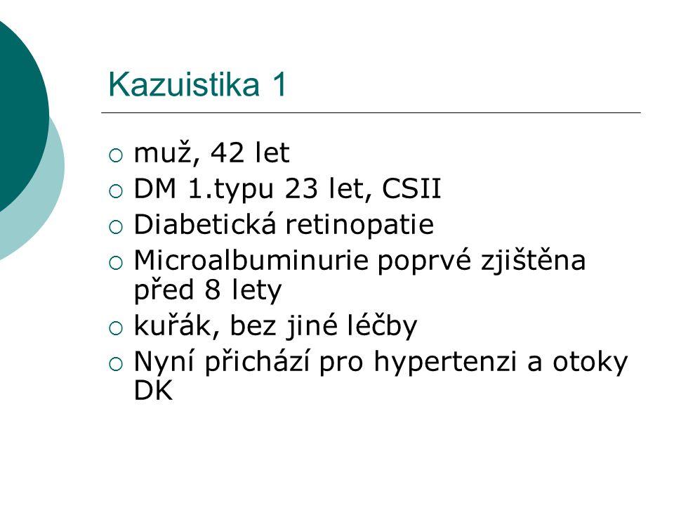 Kazuistika 1  Laboratorně: urea 18mmol/l, krea 198umol/l  Na 145, K 5,9 Ca 2,1 P 1,9  albumin 22g/l, glykémie 13mmol/l  Cholesterol 6,4 mmol/l, LDL 4,4 HDL 0,9 Tg 1,7  Moč: protein +2, glukóza +2  GF 0,75ml/s, proteinurie 8,6g/den  Sono: bilat.