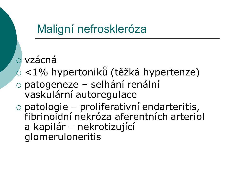 Klinicky i laboratorně  Těžká hypertenze, hypertenzní krize  Boest hlavy, encefalopatie, kóma  neuroretinopatie  Levostranné srdeční selhání  proteinurie (nefrotická)  erythrocyturie  válce  progrese renální insuficience… renální selhání
