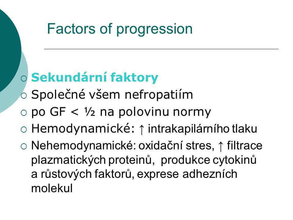Základní patologický proces Snížení počtu funkčních nefronů Růstové faktory poškozují normální glomeruly Glomerulární hypertrofie a mesangiální hyperplázie Glomerulární poškození Glomeruloskleróza Konečné selhání glomerulů