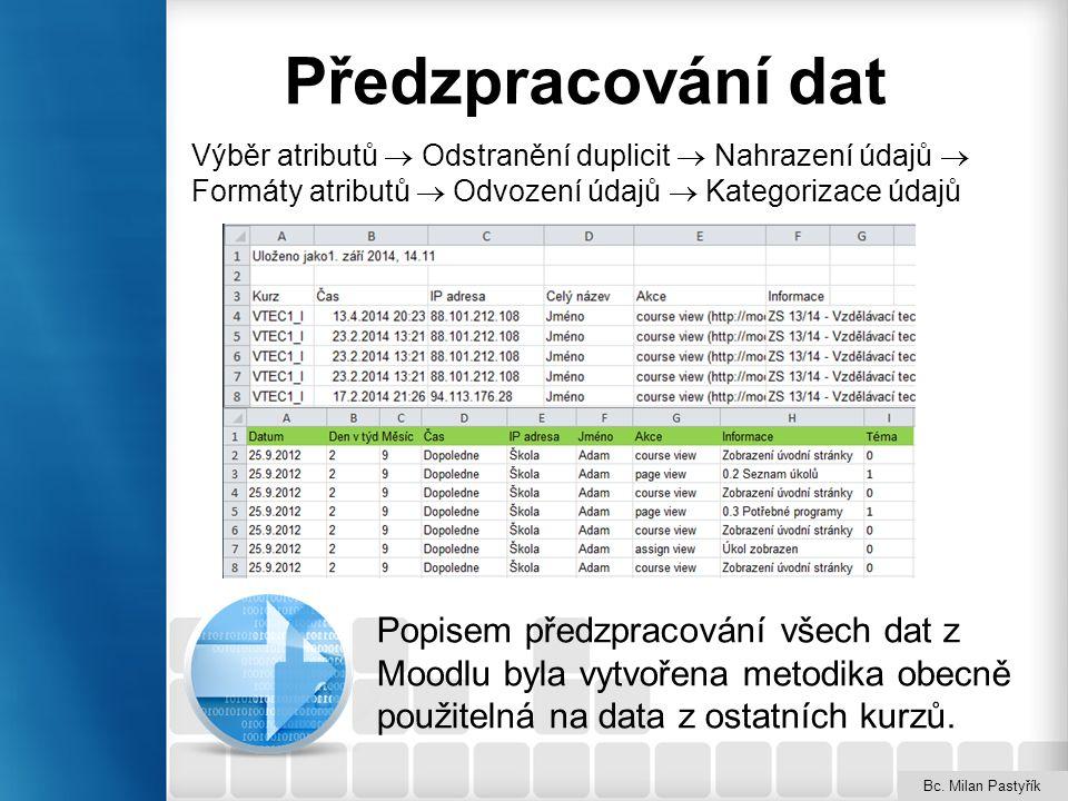 Předzpracování dat Popisem předzpracování všech dat z Moodlu byla vytvořena metodika obecně použitelná na data z ostatních kurzů. Bc. Milan Pastyřík V