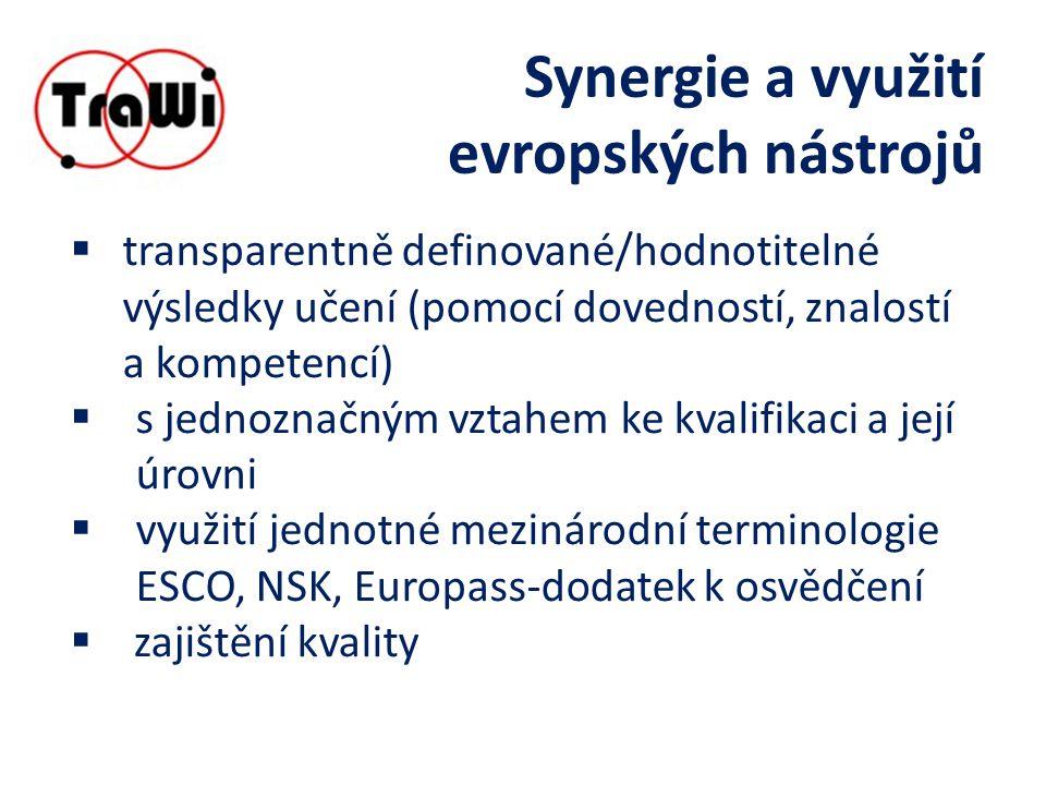 Synergie a využití evropských nástrojů  transparentně definované/hodnotitelné výsledky učení (pomocí dovedností, znalostí a kompetencí)  s jednoznačným vztahem ke kvalifikaci a její úrovni  využití jednotné mezinárodní terminologie ESCO, NSK, Europass-dodatek k osvědčení  zajištění kvality