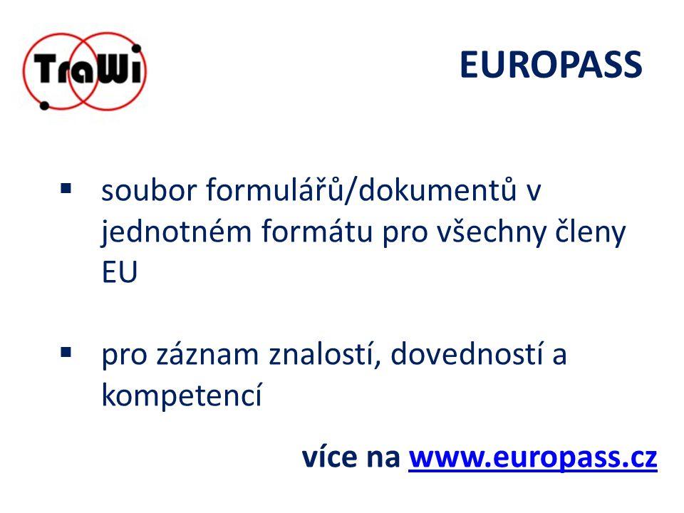 EUROPASS  soubor formulářů/dokumentů v jednotném formátu pro všechny členy EU  pro záznam znalostí, dovedností a kompetencí více na www.europass.czwww.europass.cz