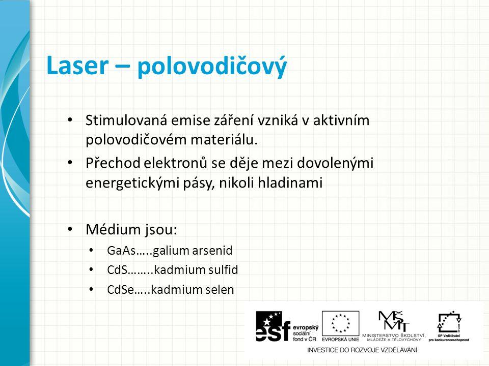 Stimulovaná emise záření vzniká v aktivním polovodičovém materiálu.
