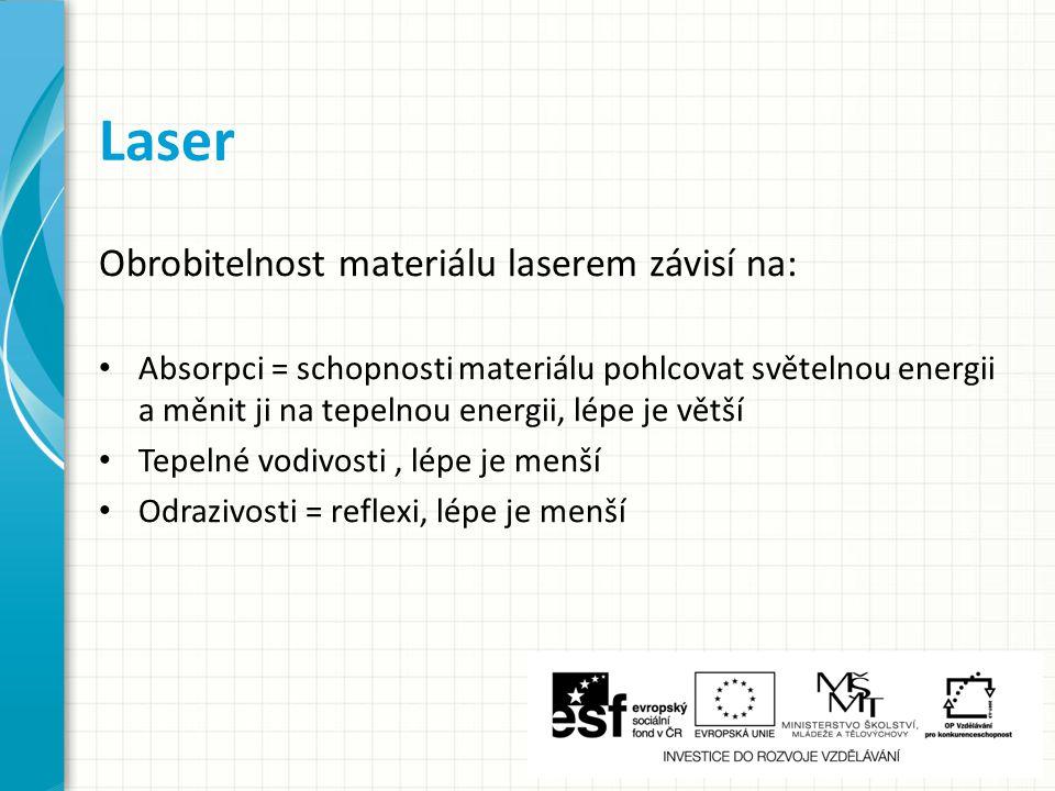 Obrobitelnost materiálu laserem závisí na: Absorpci = schopnosti materiálu pohlcovat světelnou energii a měnit ji na tepelnou energii, lépe je větší Tepelné vodivosti, lépe je menší Odrazivosti = reflexi, lépe je menší Laser
