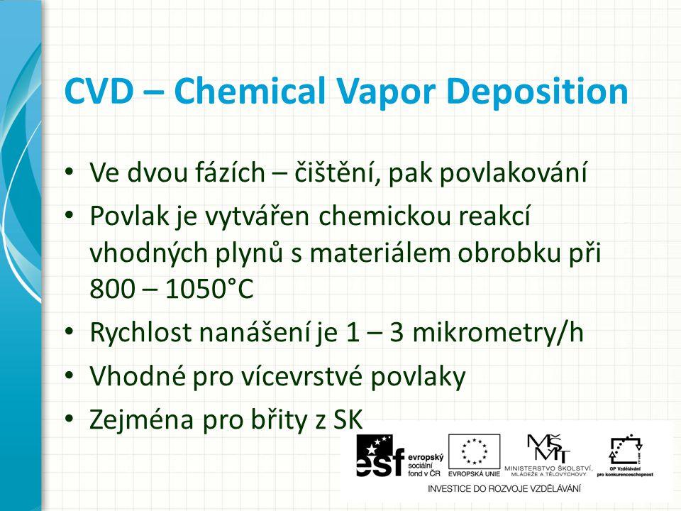 Ve dvou fázích – čištění, pak povlakování Povlak je vytvářen chemickou reakcí vhodných plynů s materiálem obrobku při 800 – 1050°C Rychlost nanášení je 1 – 3 mikrometry/h Vhodné pro vícevrstvé povlaky Zejména pro břity z SK CVD – Chemical Vapor Deposition