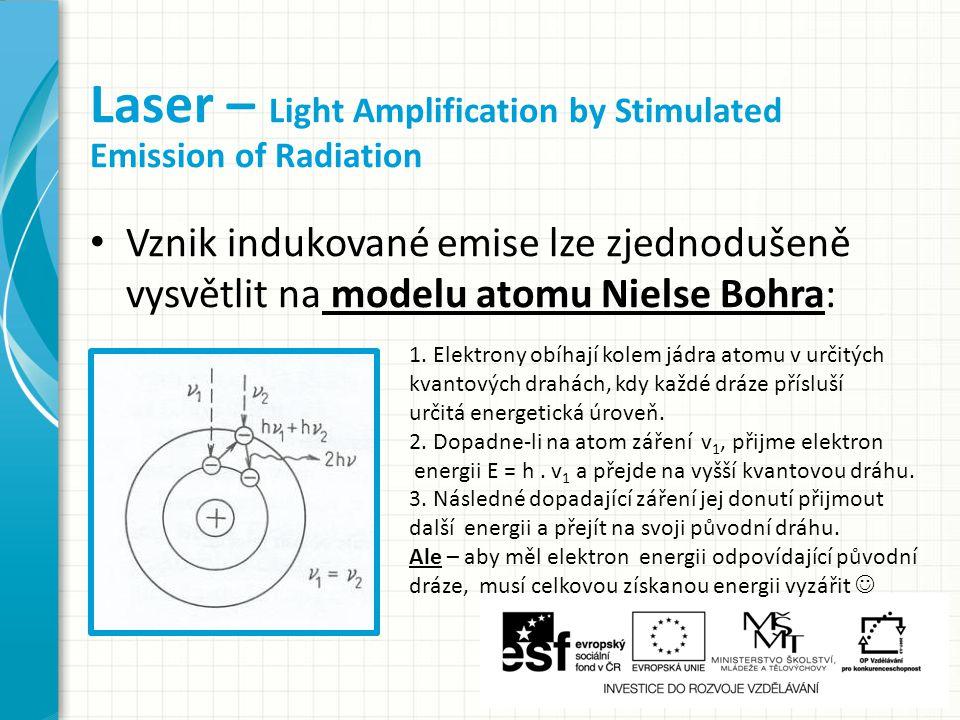 Vznik indukované emise lze zjednodušeně vysvětlit na modelu atomu Nielse Bohra: Laser – Light Amplification by Stimulated Emission of Radiation 1.