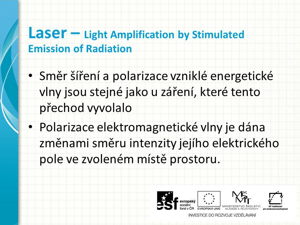 Směr šíření a polarizace vzniklé energetické vlny jsou stejné jako u záření, které tento přechod vyvolalo Polarizace elektromagnetické vlny je dána změnami směru intenzity jejího elektrického pole ve zvoleném místě prostoru.