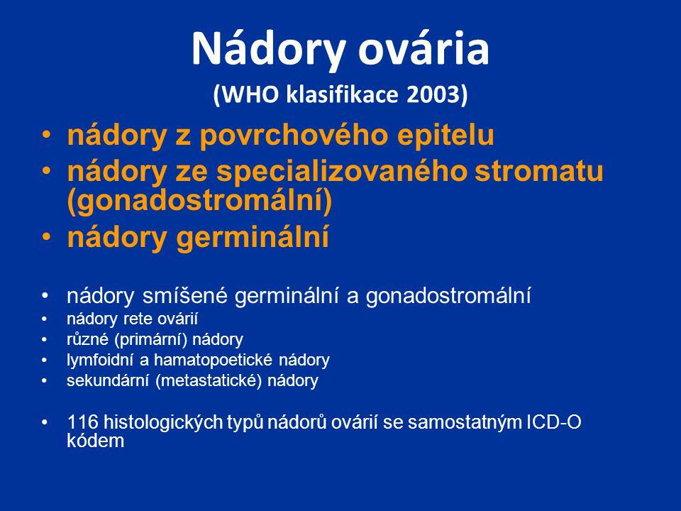 Nádory ovária (WHO klasifikace 2003) nádory z povrchového epitelu nádory ze specializovaného stromatu (gonadostromální) nádory germinální nádory smíšené germinální a gonadostromální nádory rete ovárií různé (primární) nádory lymfoidní a hamatopoetické nádory sekundární (metastatické) nádory 116 histologických typů nádorů ovárií se samostatným ICD-O kódem