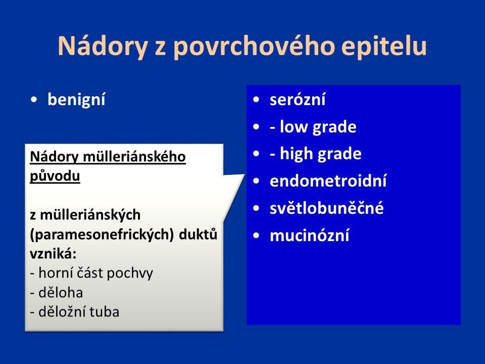 Nádory z povrchového epitelu benigní borderline maligní serózní - low grade - high grade endometroidní světlobuněčné mucinózní Nádory mülleriánského původu z mülleriánských (paramesonefrických) duktů vzniká: - horní část pochvy - děloha - děložní tuba Nádory mülleriánského původu z mülleriánských (paramesonefrických) duktů vzniká: - horní část pochvy - děloha - děložní tuba
