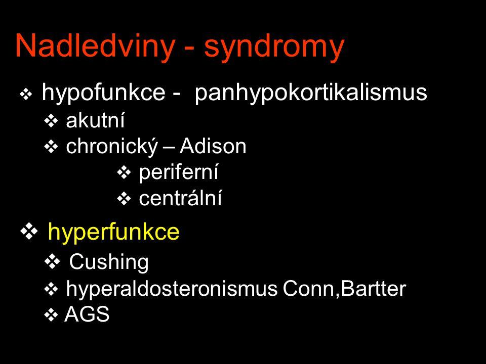 Nadledviny - syndromy  hypofunkce - panhypokortikalismus  akutní  chronický – Adison  periferní  centrální  hyperfunkce  Cushing  hyperaldoste