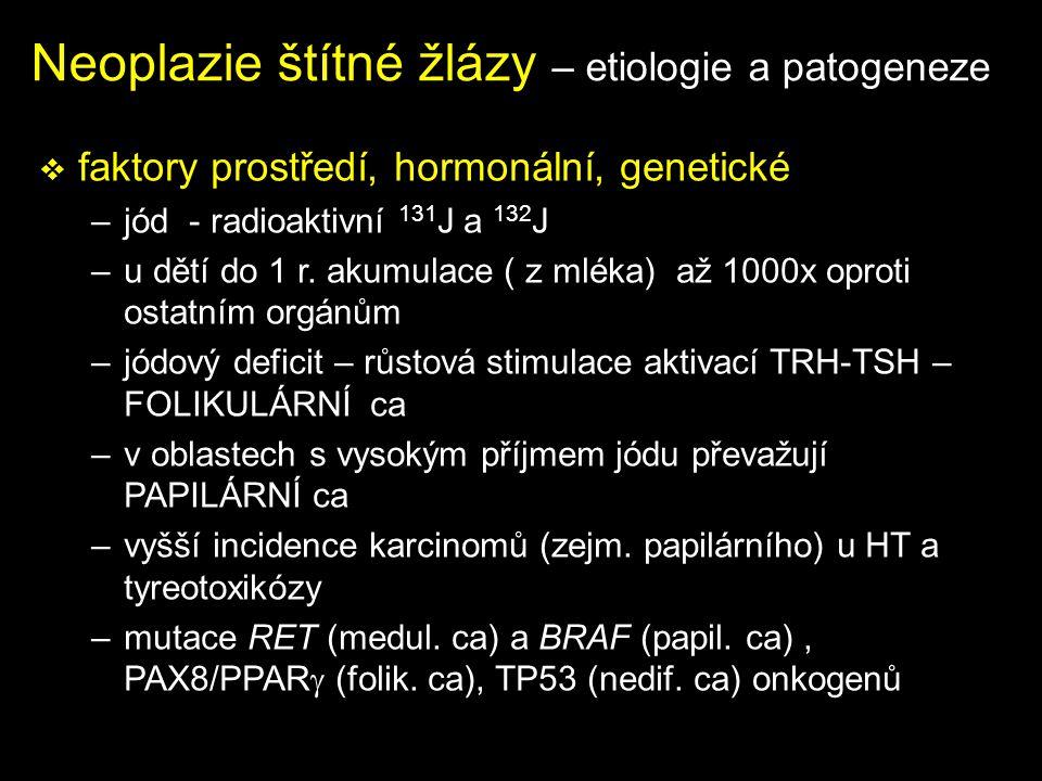 Neoplazie štítné žlázy – etiologie a patogeneze  faktory prostředí, hormonální, genetické –jód - radioaktivní 131 J a 132 J –u dětí do 1 r. akumulace