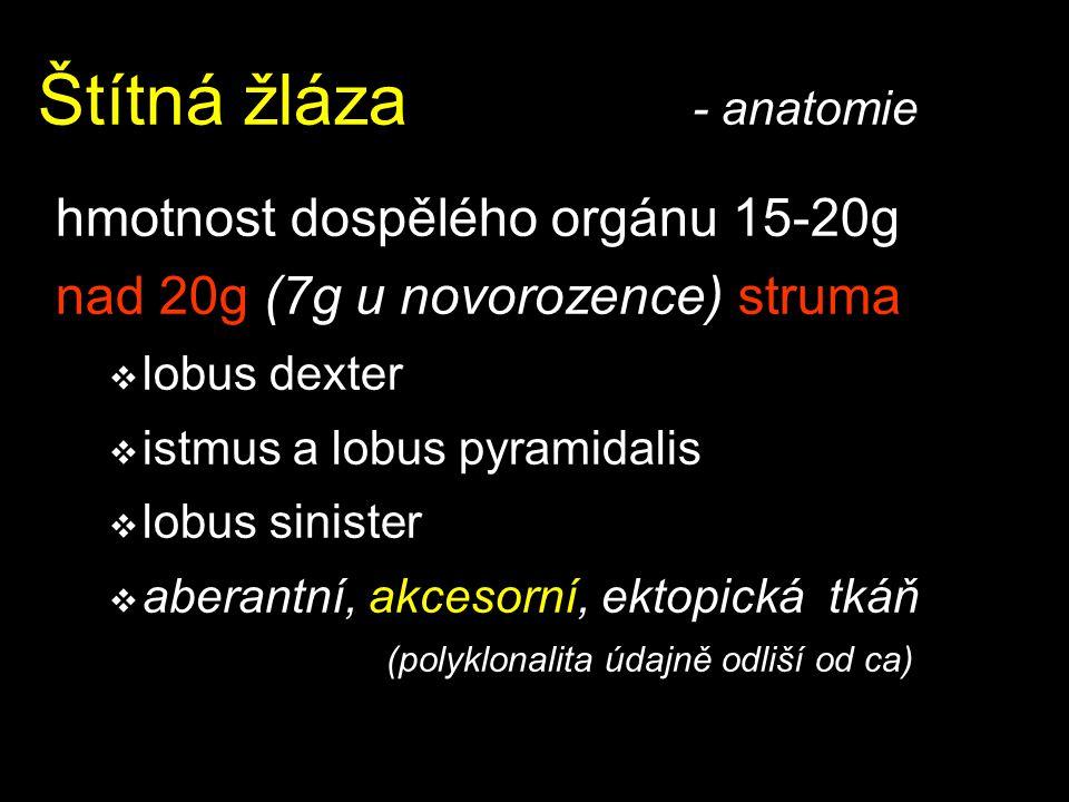 Štítná žláza - anatomie hmotnost dospělého orgánu 15-20g nad 20g (7g u novorozence) struma  lobus dexter  istmus a lobus pyramidalis  lobus siniste