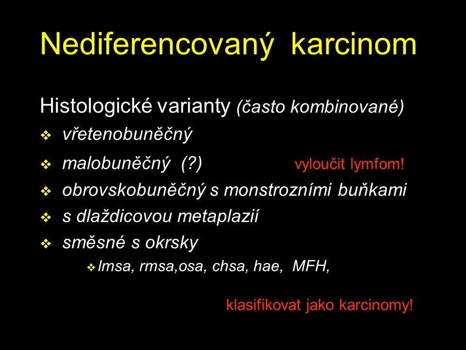 Nediferencovaný karcinom Histologické varianty (často kombinované)  vřetenobuněčný  malobuněčný (?) vyloučit lymfom!  obrovskobuněčný s monstrozním