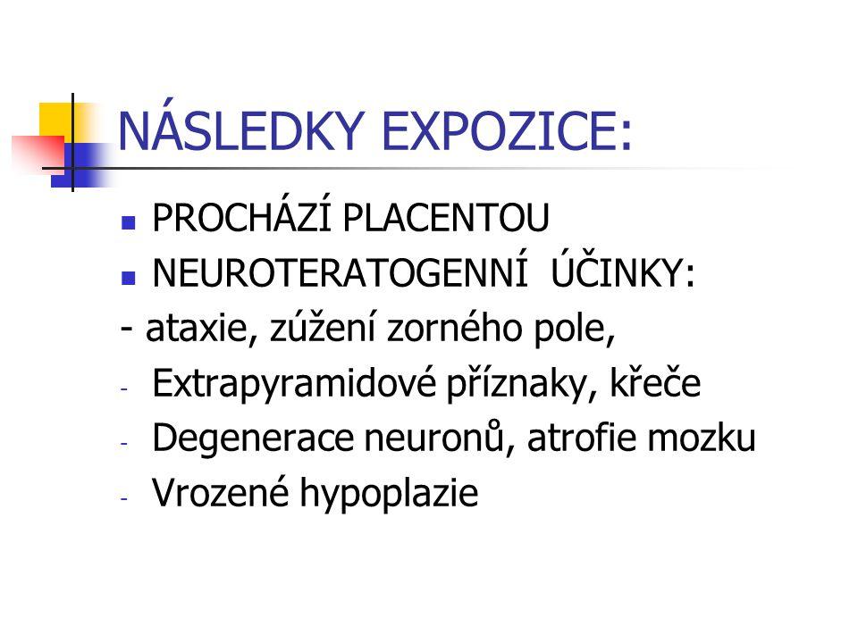 NÁSLEDKY EXPOZICE: PROCHÁZÍ PLACENTOU NEUROTERATOGENNÍ ÚČINKY: - ataxie, zúžení zorného pole, - Extrapyramidové příznaky, křeče - Degenerace neuronů,
