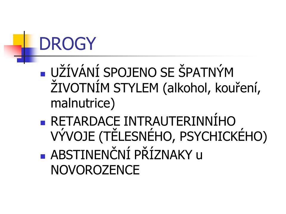 DROGY UŽÍVÁNÍ SPOJENO SE ŠPATNÝM ŽIVOTNÍM STYLEM (alkohol, kouření, malnutrice) RETARDACE INTRAUTERINNÍHO VÝVOJE (TĚLESNÉHO, PSYCHICKÉHO) ABSTINENČNÍ